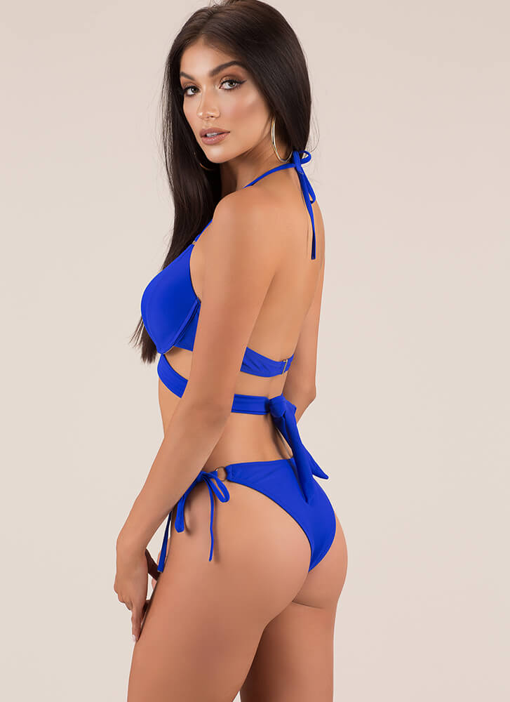 X's And Oohs Strappy Bikini Set BLUE (Final Sale)