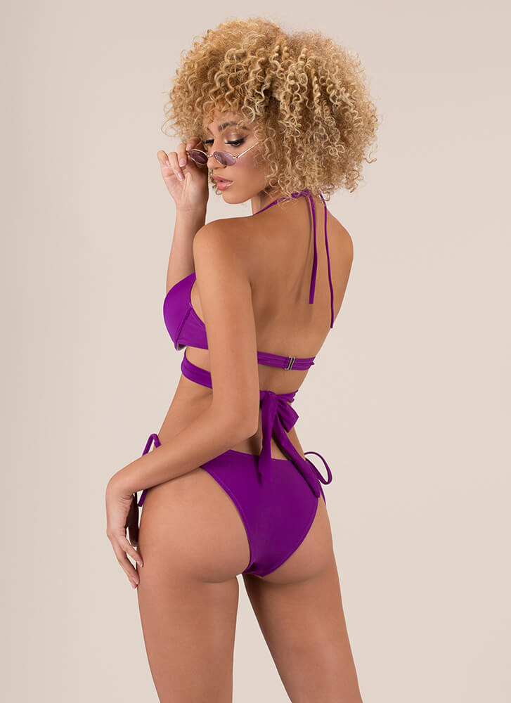 X's And Oohs Strappy Bikini Set PURPLE (Final Sale)