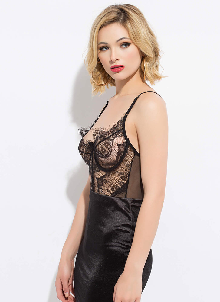Lesson In Lace Underwire Bodysuit BLACK (You Saved $18)