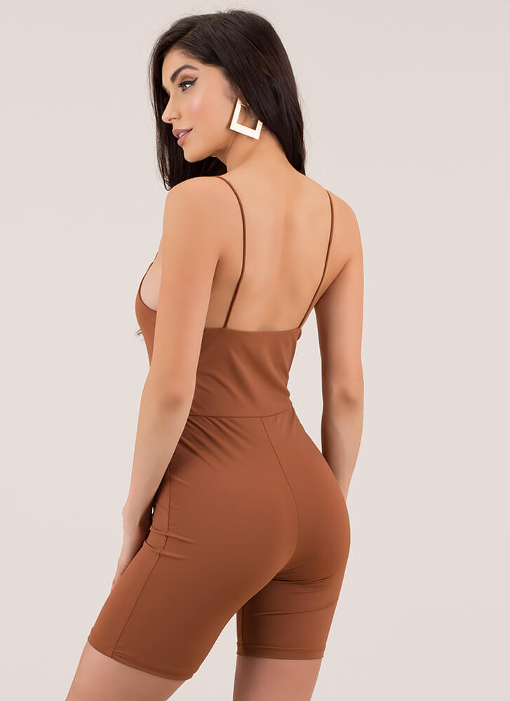 Curve Appeal Solid Leotard Romper COPPER