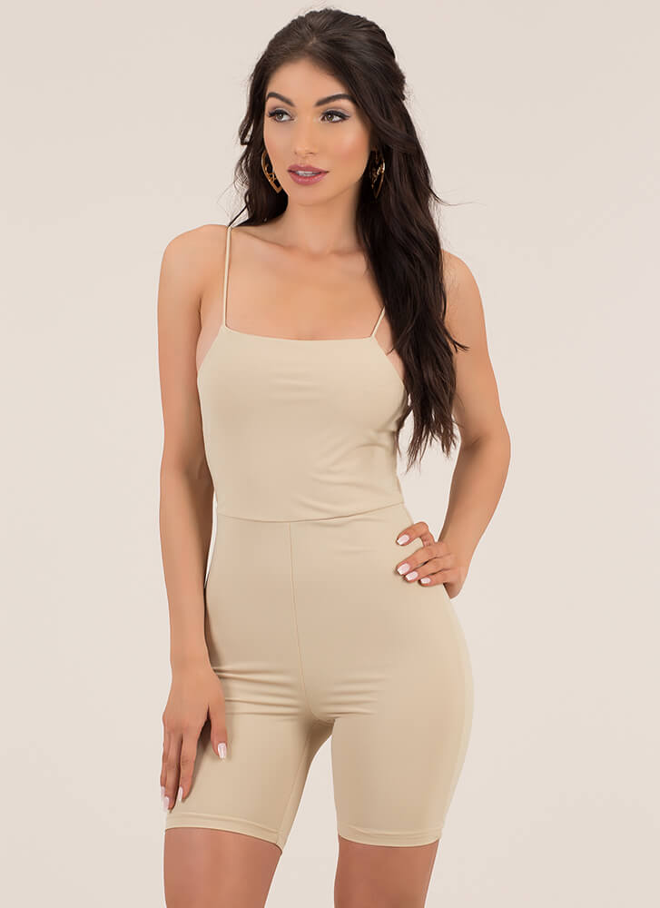 Curve Appeal Solid Leotard Romper TAUPE (You Saved $20)