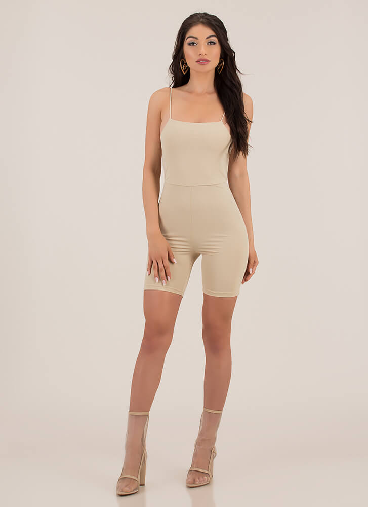 Curve Appeal Solid Leotard Romper TAUPE