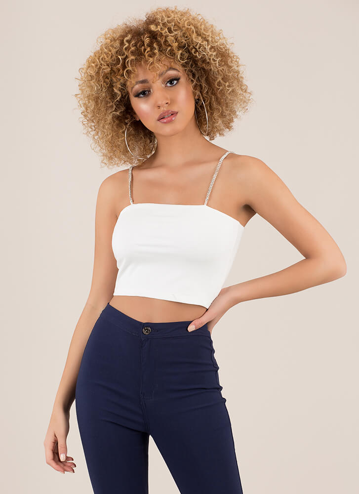 A Real Gem Rhinestone Strap Crop Top WHITE