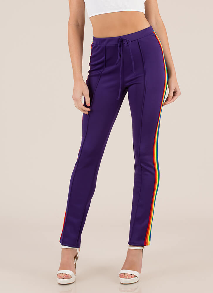 Color Story Rainbow Striped Pants PURPLE