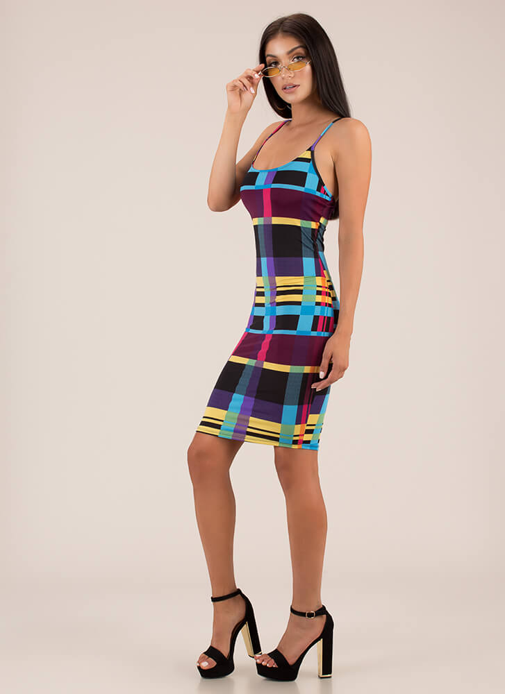 Modern Technology Abstract Print Dress BLACKYELLOW