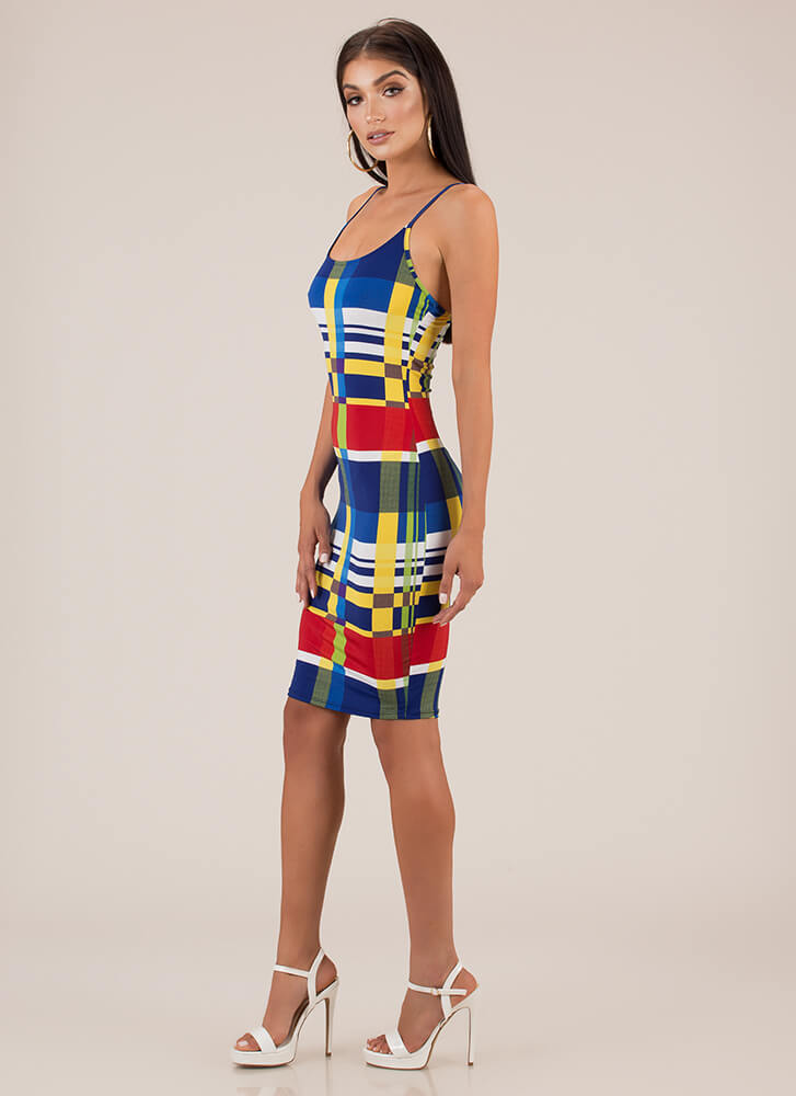 Modern Technology Abstract Print Dress BLUERED