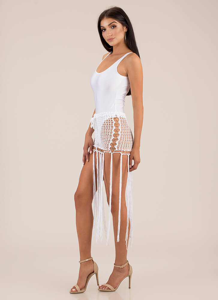 Ring It Up Fringed Crochet Cover-Up IVORY
