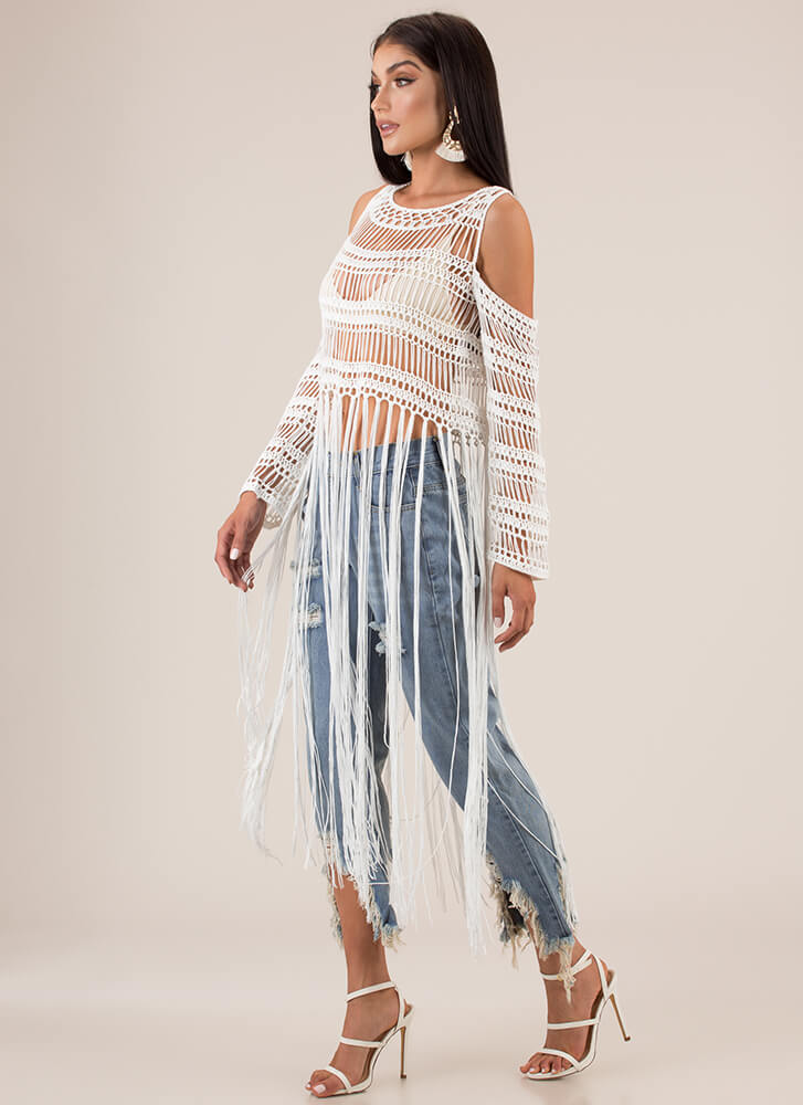 Long Time Coming Fringed Crochet Top WHITE