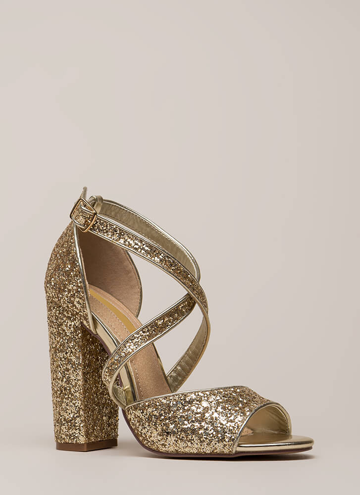 Glitter Party Chunky Strappy Heels GOLD