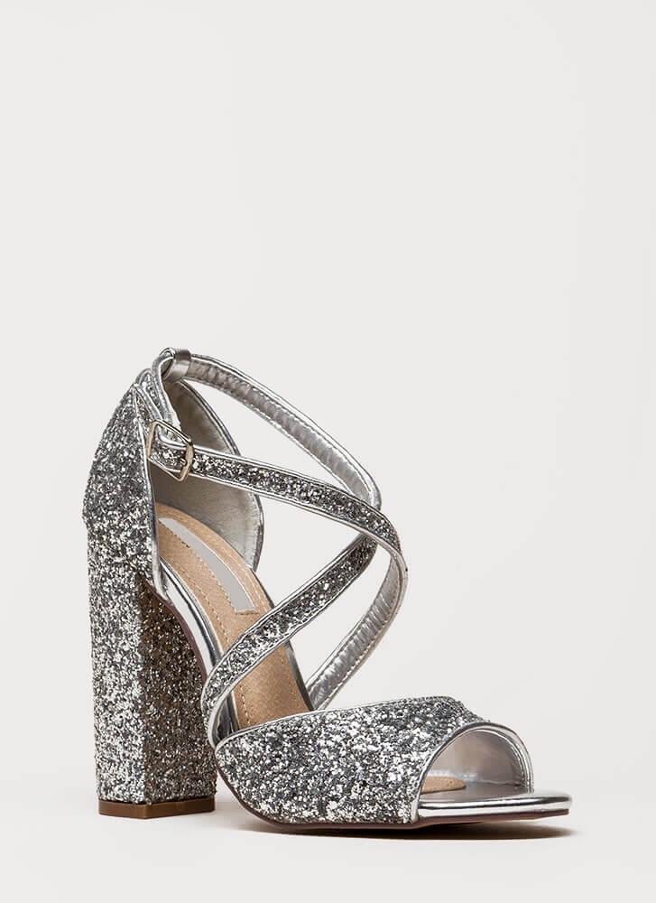 Glitter Party Chunky Strappy Heels SILVER