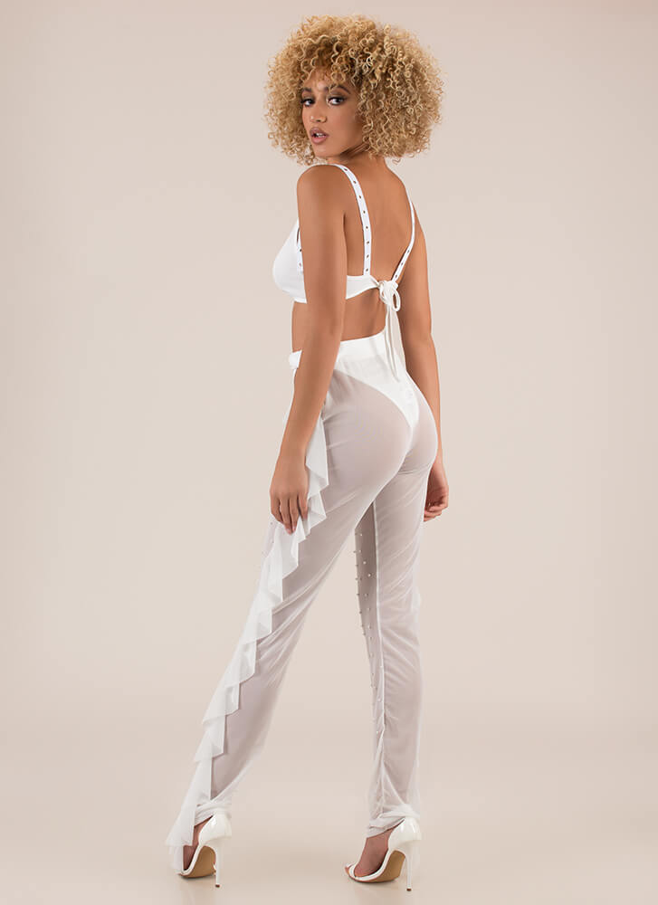 Sheer Courage Studded 3-Piece Set WHITE