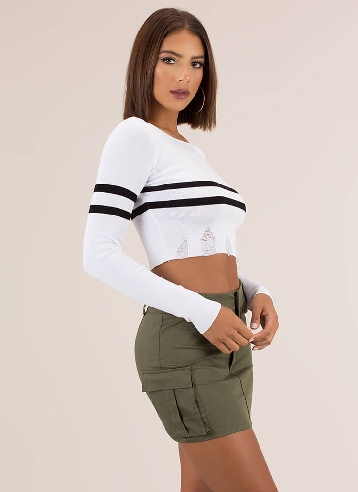 Two Stripes Distressed Cropped Sweater WHITE