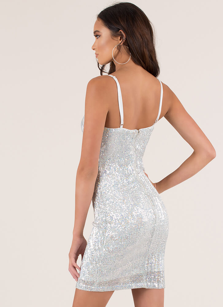 Ready To Party Sequined Minidress SILVER (Final Sale)