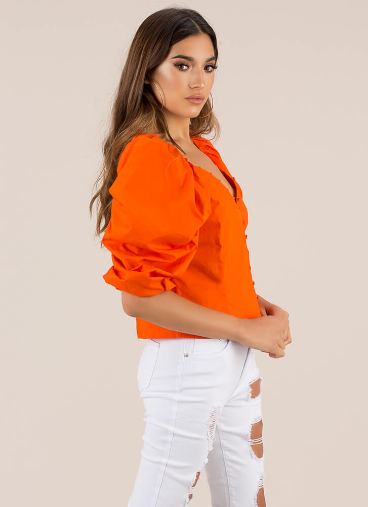 Right On The Button Puffy Sleeve Top ORANGE