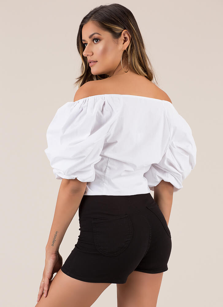Right On The Button Puffy Sleeve Top WHITE