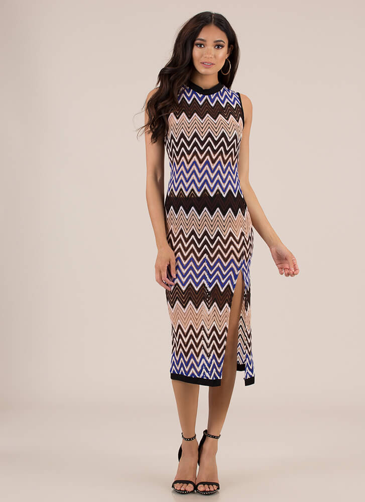 Follow The Pattern Zigzag Knit Dress BLUEMULTI