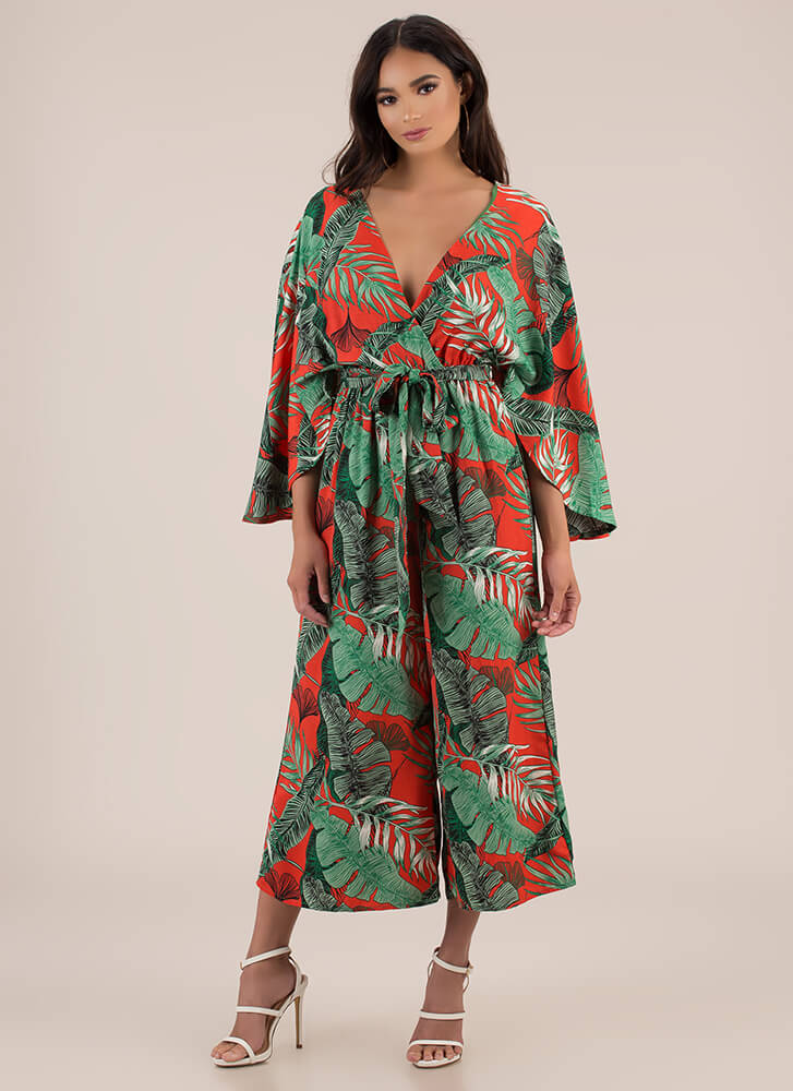 Work Leave Tropical Palazzo Jumpsuit RED