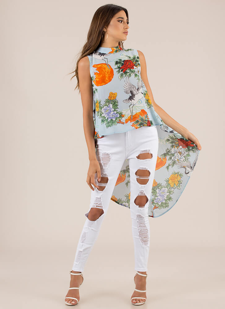 Crane Or Shine High-Low Floral Top LTBLUE