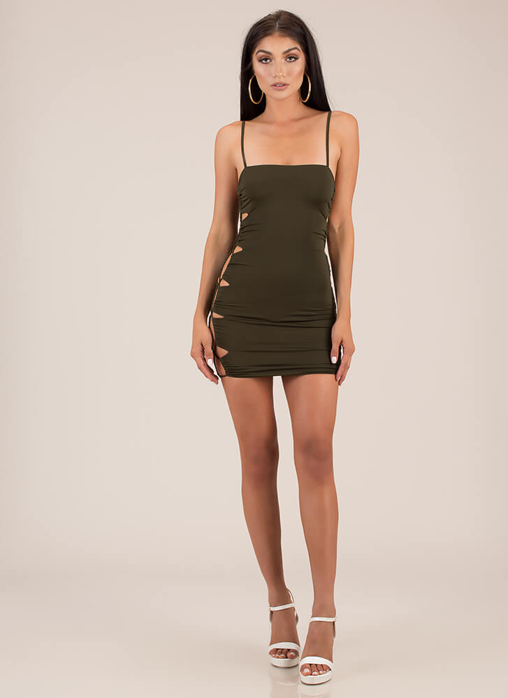 Side Piece Laced Cut-Out Minidress OLIVE