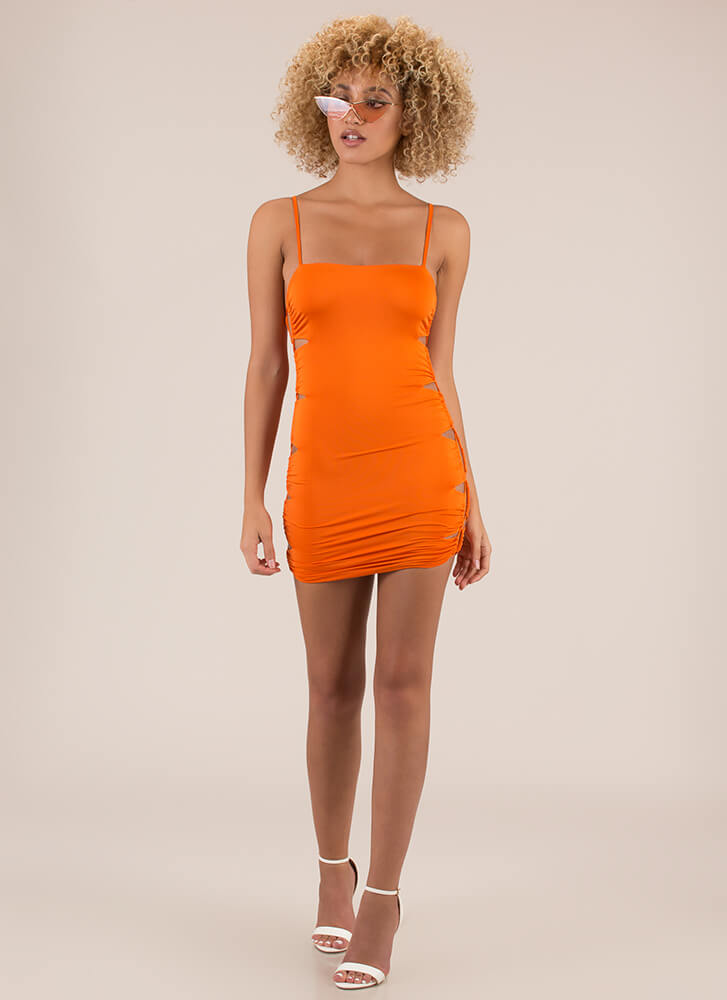 Side Piece Laced Cut-Out Minidress ORANGE