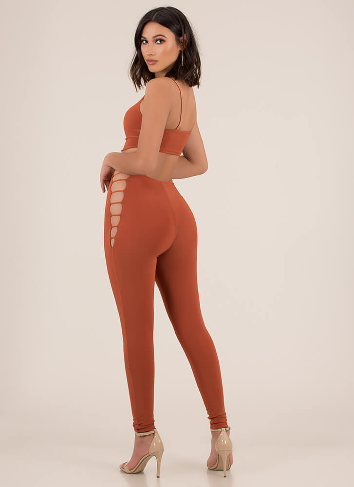 Get The Straps Top And Legging Set RUST