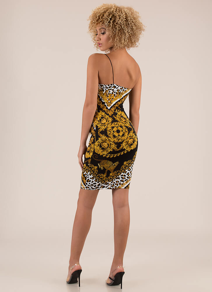 Hot Spots Baroque Leopard Dress BLACKMULTI
