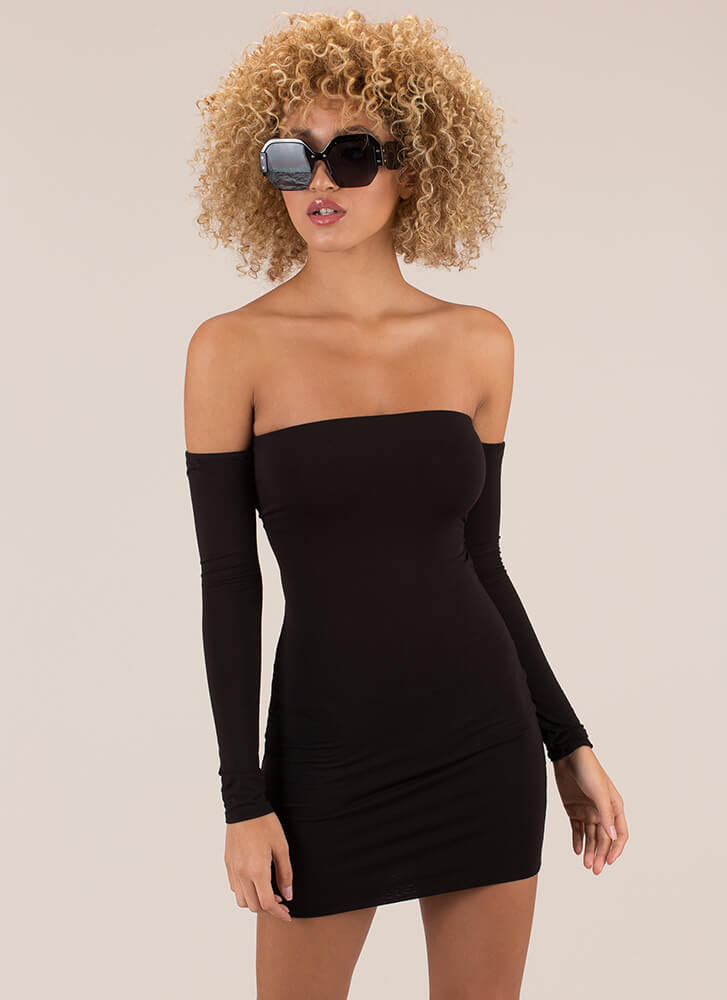 Your Turn Lace-Back Off-Shoulder Dress BLACK