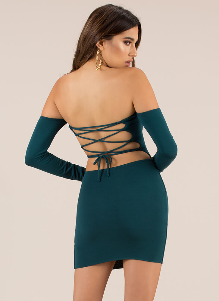 Your Turn Lace-Back Off-Shoulder Dress HGREEN