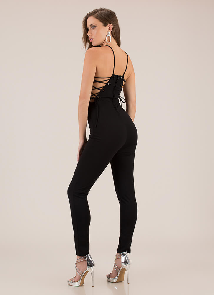 The String Section Lace-Up Jumpsuit BLACK