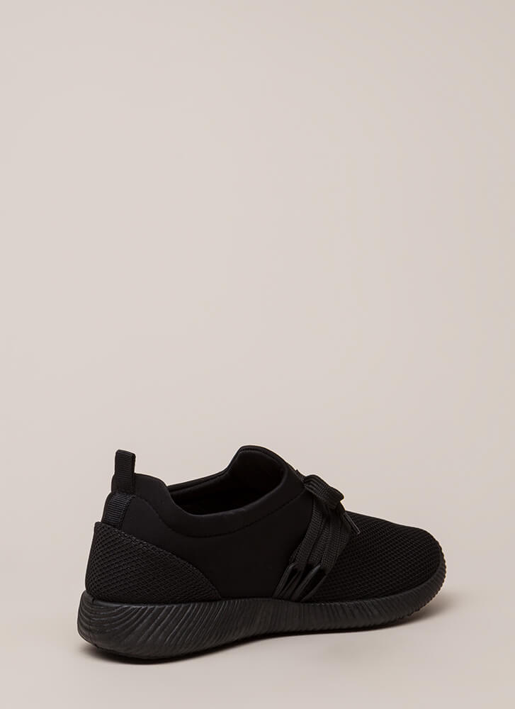 Good Run Netted Lycra Platform Sneakers BLACK
