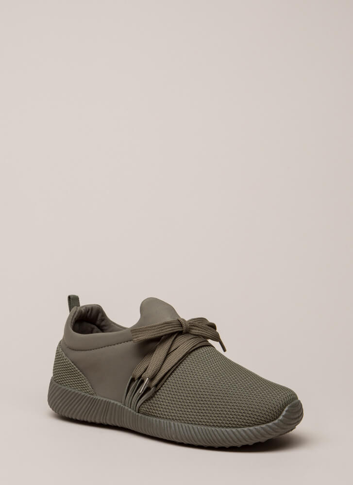 Good Run Netted Lycra Platform Sneakers KHAKI