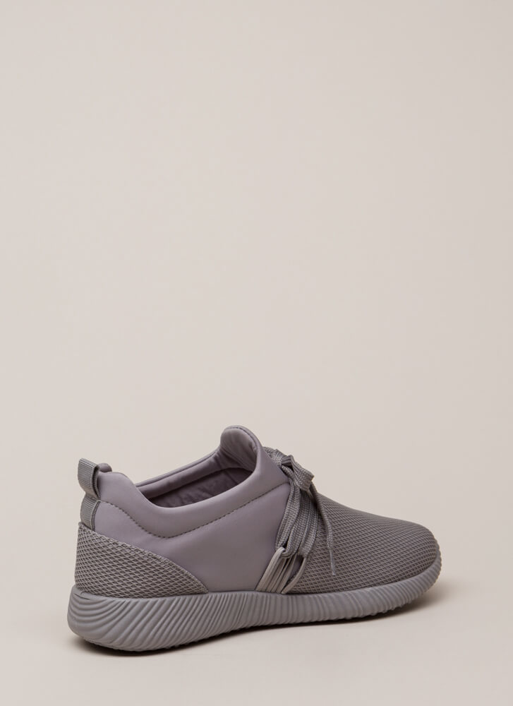 Good Run Netted Lycra Platform Sneakers LTGREY