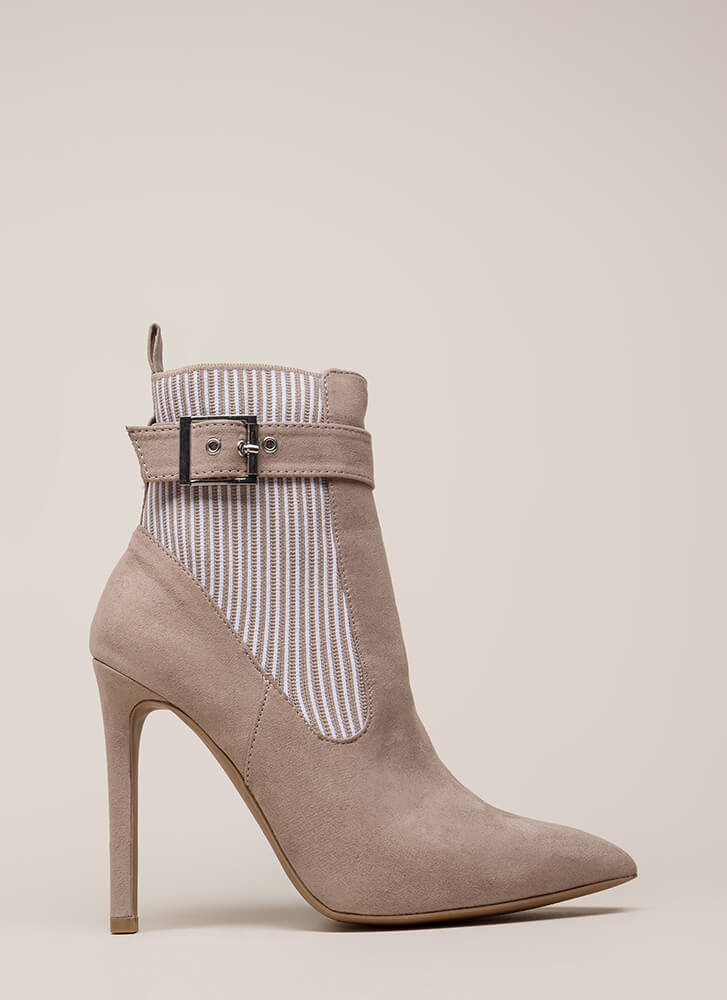 Stripe My Fancy Stretchy Pointy Booties TAUPE