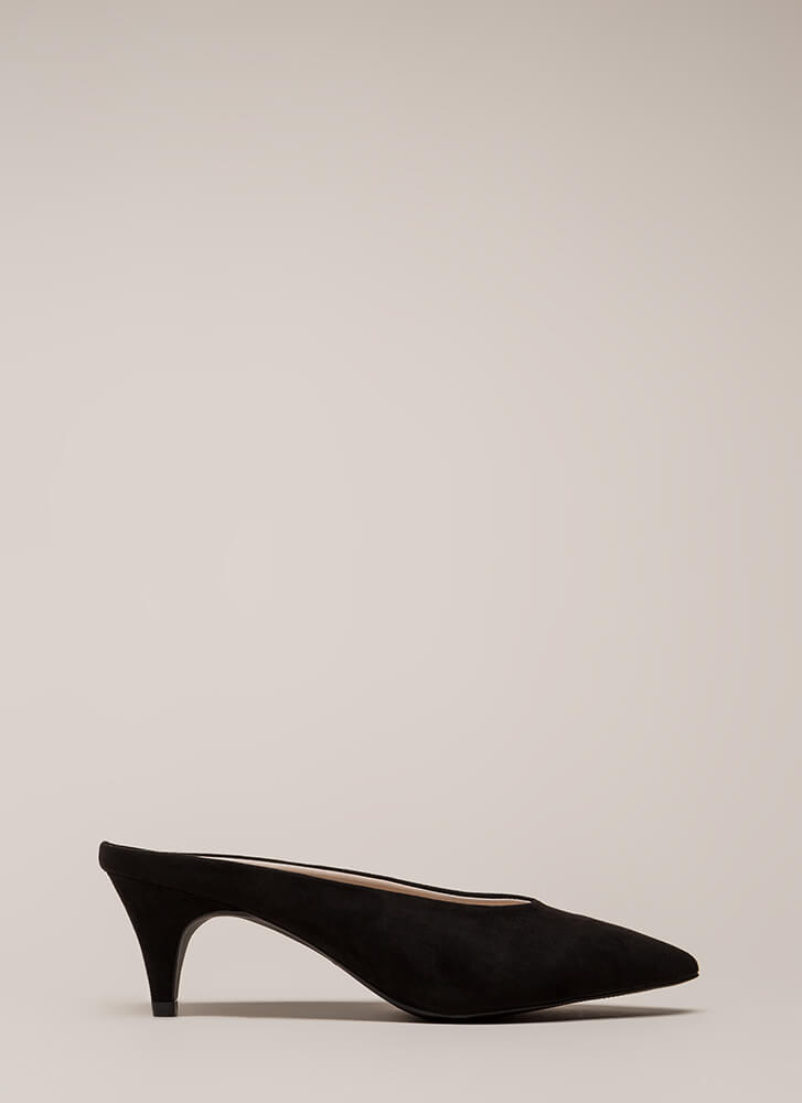 Saucy Pointy Faux Suede Kitten Heels BLACK