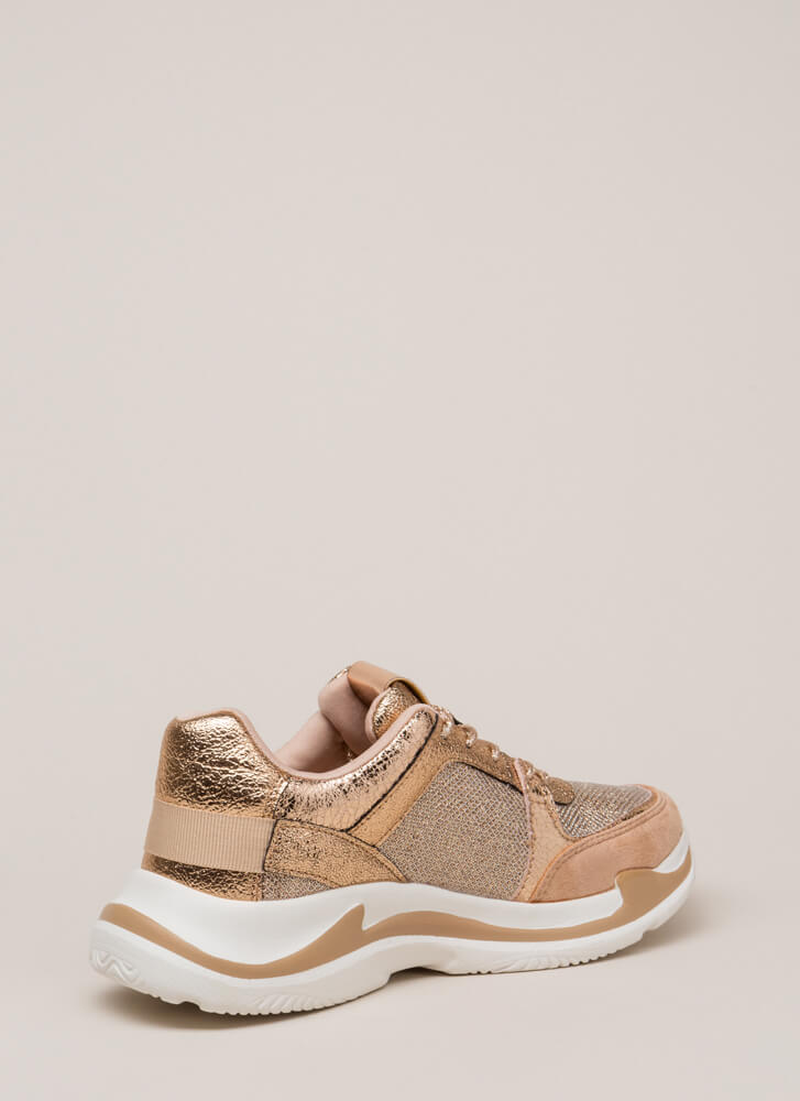 See Sparks Glittery Platform Sneakers ROSEGOLD