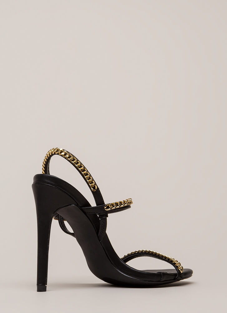 Let's Link Up Chain Trim Strappy Heels BLACK