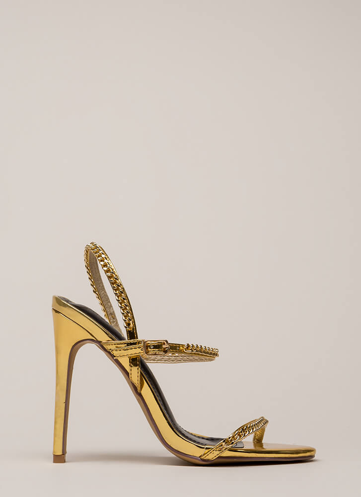 Let's Link Up Chain Trim Strappy Heels GOLD