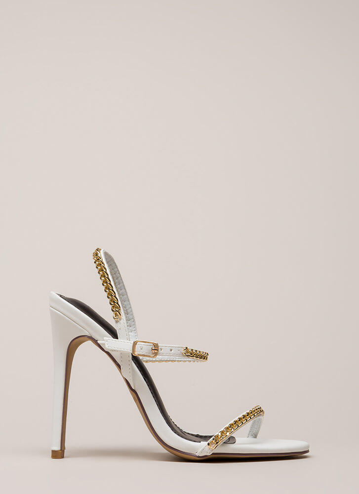 Let's Link Up Chain Trim Strappy Heels WHITE