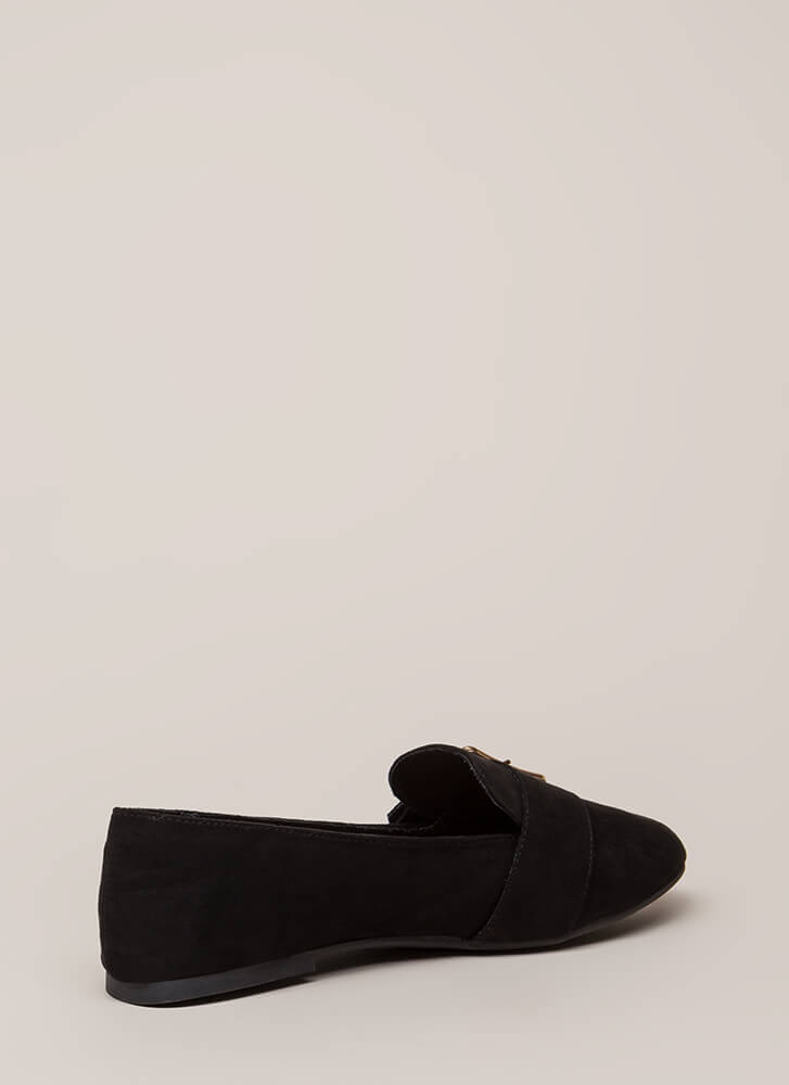 One Two Buckle My Shoe Smoking Flats BLACK