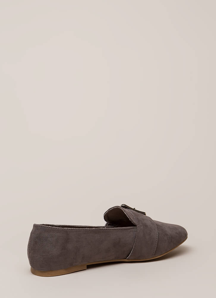 One Two Buckle My Shoe Smoking Flats GREY