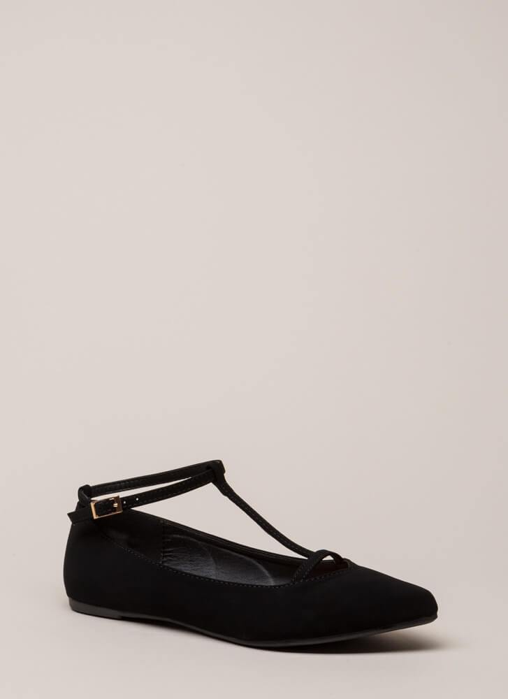 The Definition Of Style T-Strap Flats BLACK