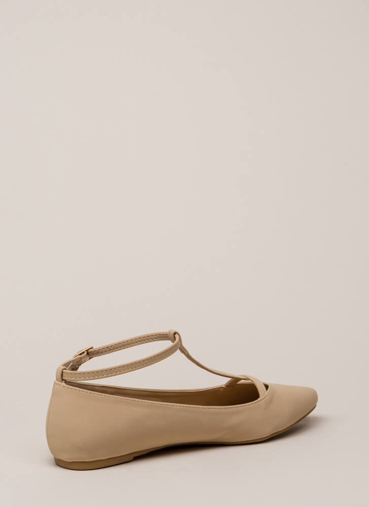 The Definition Of Style T-Strap Flats NUDE
