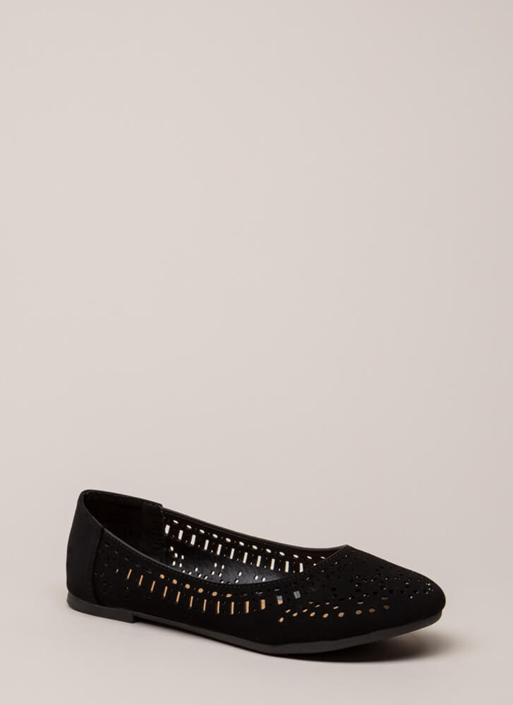 Make The Cut Latticed Ballet Flats BLACK (You Saved $11)