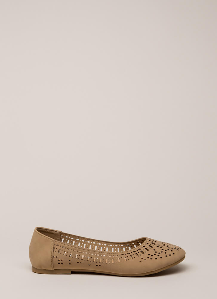 Make The Cut Latticed Ballet Flats NATURAL (You Saved $11)