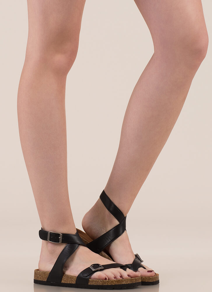 Double-Cross Me Strappy Buckled Sandals BLACK