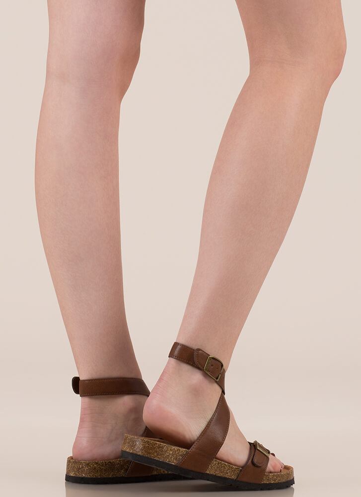 Double-Cross Me Strappy Buckled Sandals CHESTNUT