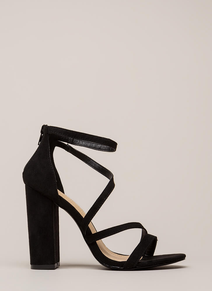 Never Enough Chunky Strappy Heels BLACK