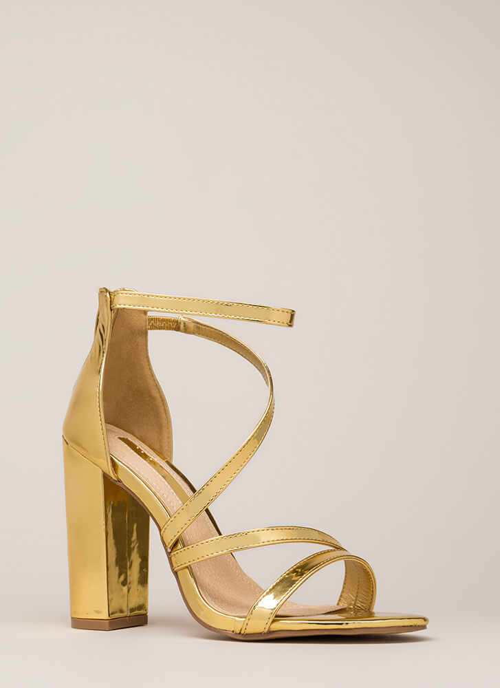 Never Enough Chunky Strappy Heels GOLD