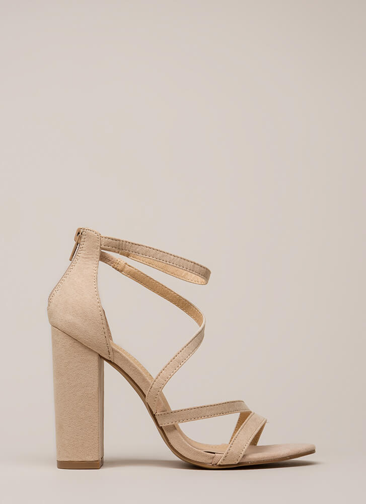 Never Enough Chunky Strappy Heels NUDE