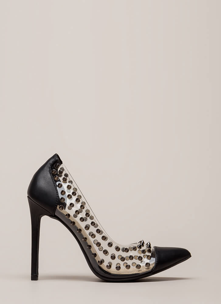 Spike It Rich Pointy Clear Pumps BLACK